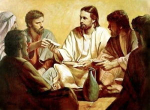 Jesus shares the morsel with Judas
