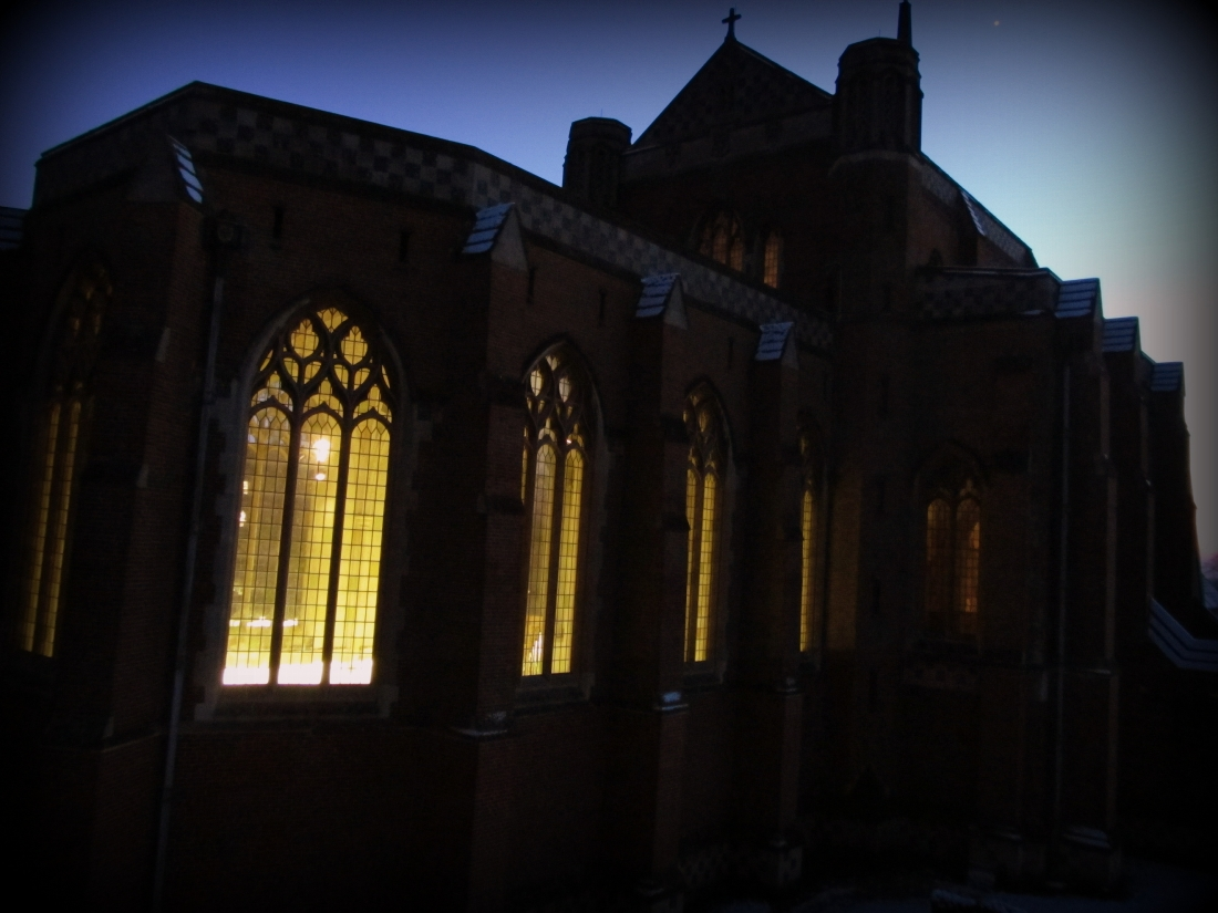 Abbey church from window at twilight