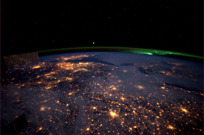 Over Germany towards Britain from the ISS