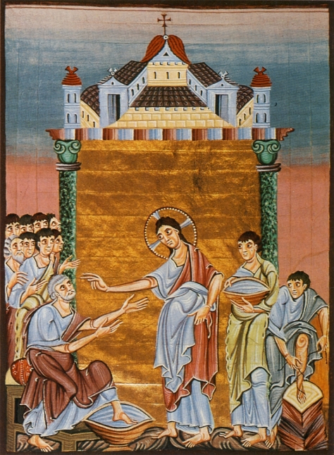 Christ wahes the feet of those whom he has just ordained