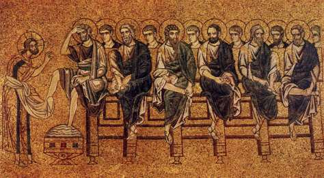 Christ ordains his disciples and washes their feet
