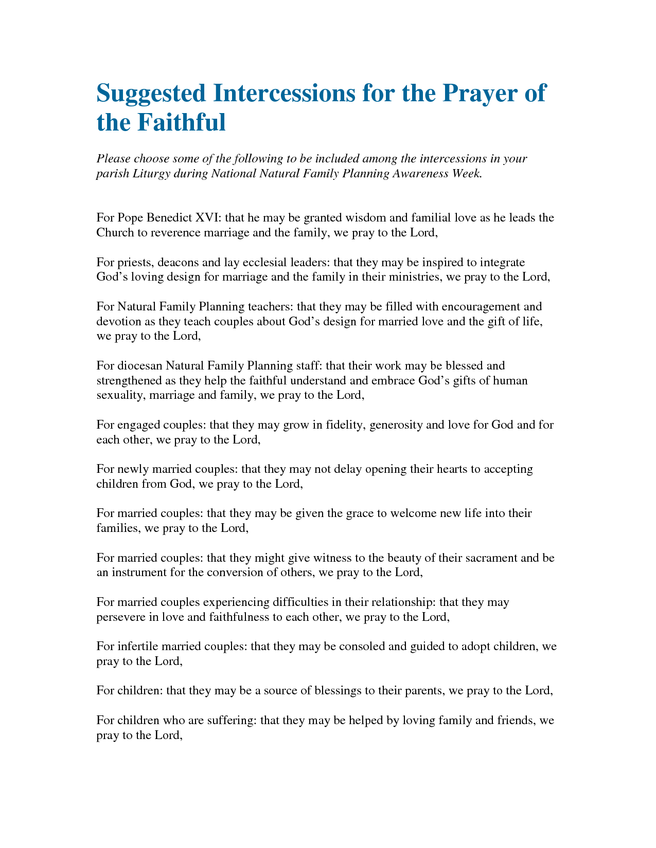 Intercessory prayer example and prayer points in the bible.