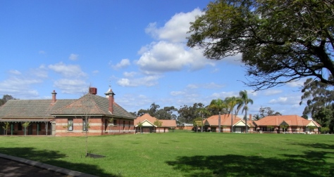 At left, the refectory, and to the right the three houses for seminarians