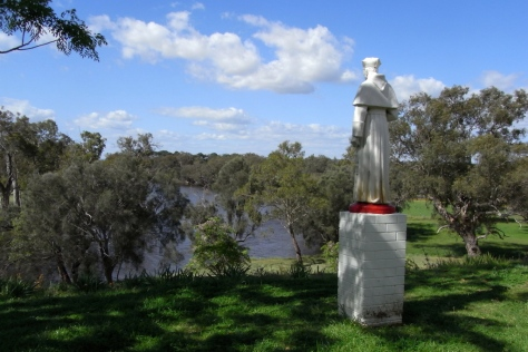 Beside the main seminary building, the statue of Dr Launcelot Goody, first rector and later Archbishop of Perth, looks down on the Swan River