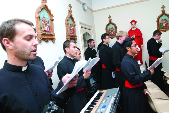 The seminarians sing in the chapel (my nephew among them). Photo courtesy The Record (Perth).