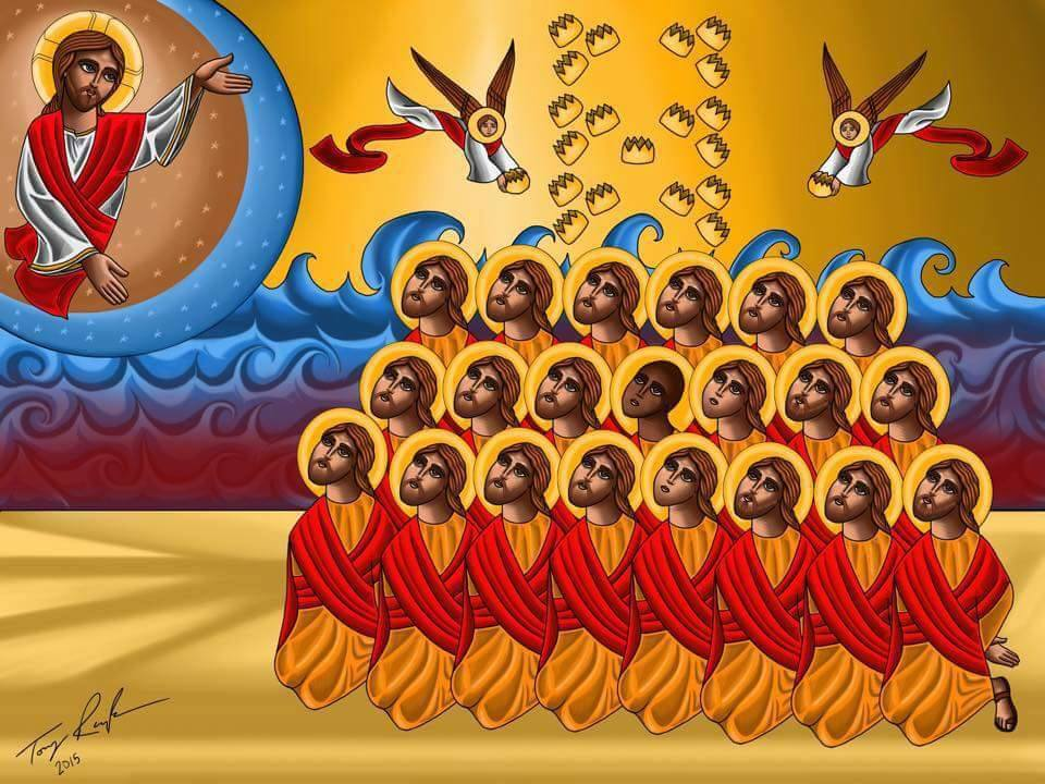 The 21 Coptic Martyrs of Libya, an icon drawn by Tony Rezk.