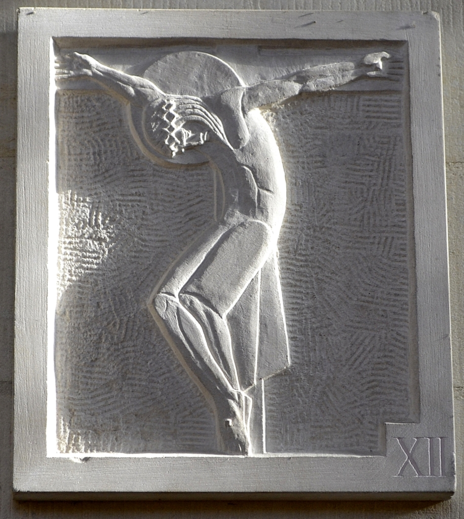 The 12th Station, from the Stations of the Cross in Douai Abbey church, carved by Fr Aloysius Bloor OSB and designed by Dame Werburg Welch OSB (Stanbrook)