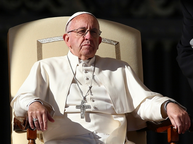 Pope Francis attends his general audience in Saint Peter's Square at the Vatican